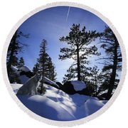 Round Beach Towel featuring the photograph Immersed In Light And Shadow by Sean Sarsfield
