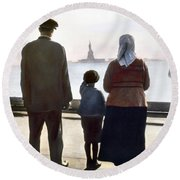 Round Beach Towel featuring the photograph Immigrants: Ellis Island by Granger