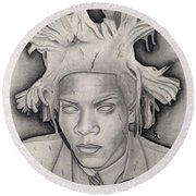 Immortalizing In Stone Jean Michel Basquiat Drawing Round Beach Towel