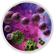 Round Beach Towel featuring the digital art Immune Response Cytotoxic 4 by Russell Kightley