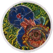 Immunity Activation Microbiology Landscapes Series Round Beach Towel by Emily McLaughlin