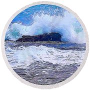 Ocean Impact In Abstract 1 Round Beach Towel