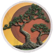 Impasto - Bonsai With Sun - One Round Beach Towel by Lori Grimmett