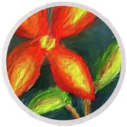 Impasto Red And Yellow Flower Round Beach Towel