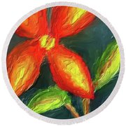 Impasto Red And Yellow Flower Round Beach Towel