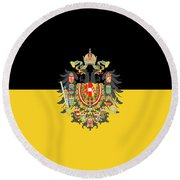 Round Beach Towel featuring the digital art Habsburg Flag With Imperial Coat Of Arms 1 by Helga Novelli