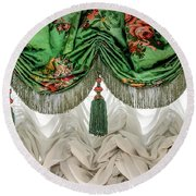 Imperial Russian Curtains Round Beach Towel