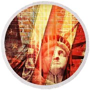 Imperiled Liberty Round Beach Towel