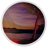 Round Beach Towel featuring the painting Impression Of Dawn by Bill OConnor