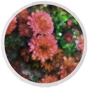Bronze And Pink Mums Round Beach Towel