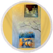 Impression Of The Town Of Wolves Round Beach Towel