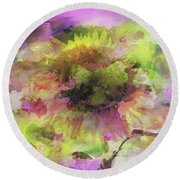 Impression Sunflower Round Beach Towel