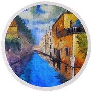 Impressionist D'art At The Canal Round Beach Towel