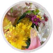 Impressionist Spring Bouquet Round Beach Towel