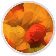 Impressionistic Gold Rose Bouquet Round Beach Towel by Linda Phelps