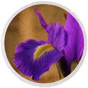 Impressionistic Purple Iris  Round Beach Towel