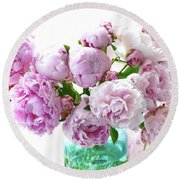 Round Beach Towel featuring the photograph Impressionistic Romantic Pink Peonies Watercolor Romantic Floral Decor - Pink Peony Decor by Kathy Fornal