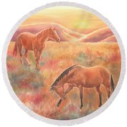 Round Beach Towel featuring the painting Impressions At Sunset by Elizabeth Lock