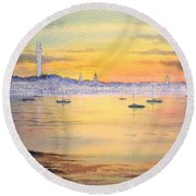 Round Beach Towel featuring the painting Impressions Of Provincetown by Bill Holkham
