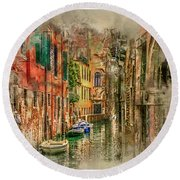 Impressions Of Venice Round Beach Towel
