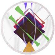 Round Beach Towel featuring the digital art Improvised Geometry #3 by Bee-Bee Deigner