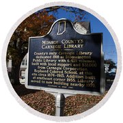 In-53.2007.1 Monroe County's Carnegie Library Round Beach Towel