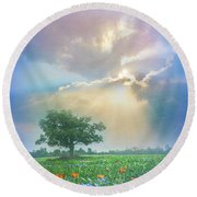 In A Dream At Sunset After The Rain Round Beach Towel