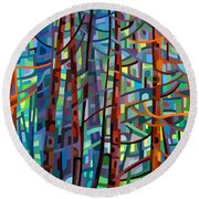 In A Pine Forest Round Beach Towel by Mandy Budan