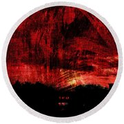 In A Red World Round Beach Towel
