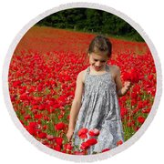 In A Sea Of Poppies Round Beach Towel