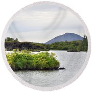 In An Iceland Lake Round Beach Towel by Joe Bonita