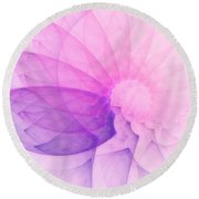 Round Beach Towel featuring the digital art In Any Tongue by Jeff Iverson