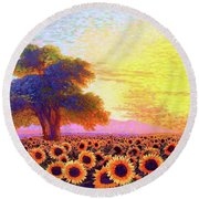 In Awe Of Sunflowers, Sunset Fields Round Beach Towel