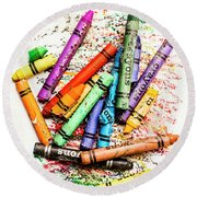 In Colours Of Broken Crayons Round Beach Towel