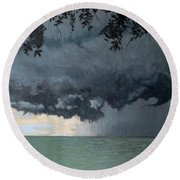 In Coming Storm-epping Forest On The Lake Round Beach Towel