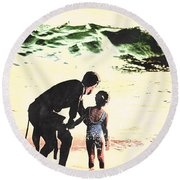 In Daddy's Arms Round Beach Towel