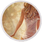 In Fields Of Summer Gold Round Beach Towel