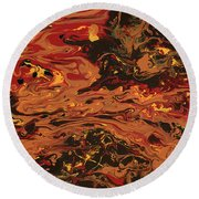 In Flames Round Beach Towel