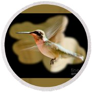Round Beach Towel featuring the photograph In Flight by Barbara S Nickerson