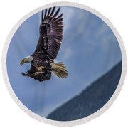 Round Beach Towel featuring the photograph In Flight Lunch by Timothy Latta