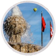 In Flight Over Flags Round Beach Towel