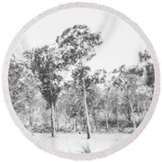 In Gusts Of A Snowstorm Round Beach Towel