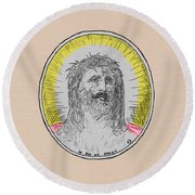 In Him We Trust Colorized Round Beach Towel