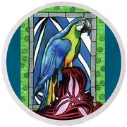 Round Beach Towel featuring the painting In Love With A Macaw by Dora Hathazi Mendes