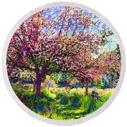 In Love With Spring, Blossom Trees Round Beach Towel by Jane Small