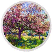 In Love With Spring, Blossom Trees Round Beach Towel