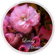 Round Beach Towel featuring the photograph In Loving Memory Spring Pink Cherry Blossoms by Shelley Neff