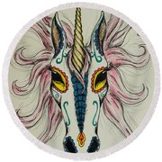 In Memory Of The Long Lost Unicorn Round Beach Towel