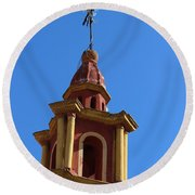 In Mexico Bell Tower Round Beach Towel by Cathy Anderson