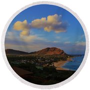 Round Beach Towel featuring the photograph In Morning Light Ma'ili Hawaii by Craig Wood